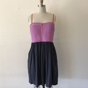 Pink & Gray Colorblock Trapunto Chemise Dress
